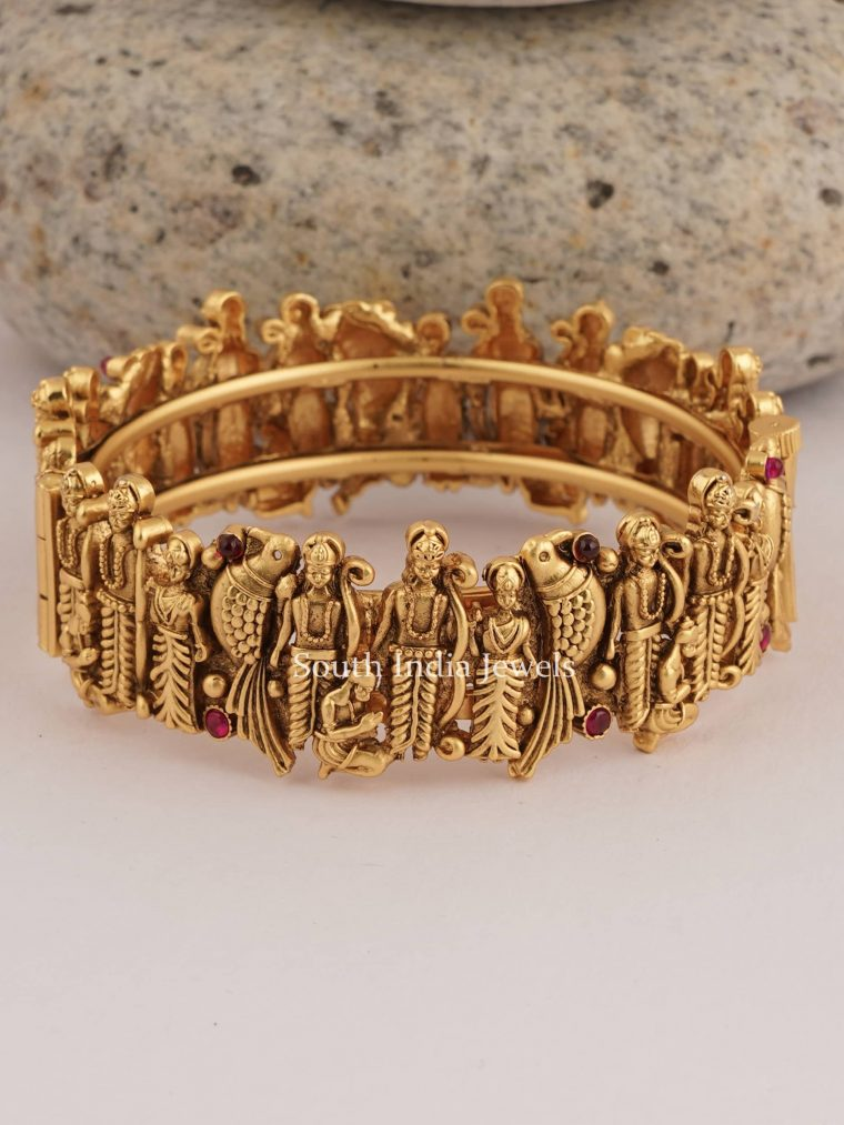 Traditional Ram Sita Gold Finish Kada Bangle