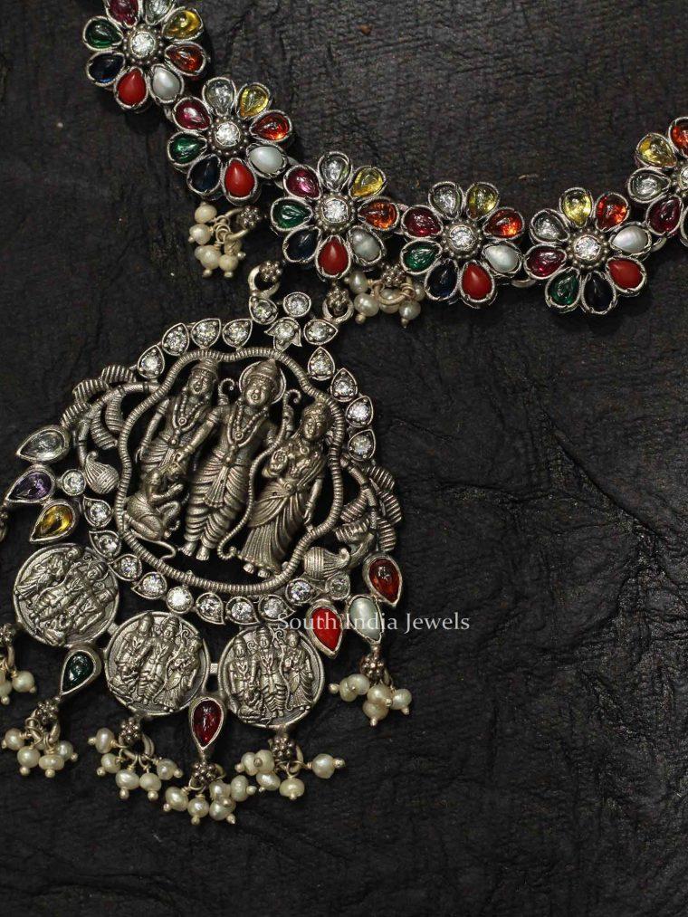 Traditional Ram Sita Silver Necklace